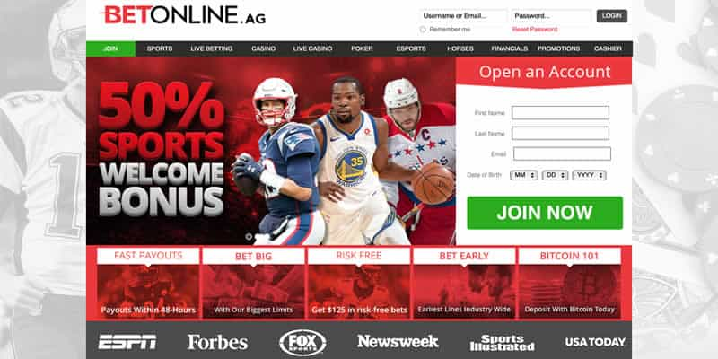 screenshot of BetOnline Sportsbook home page