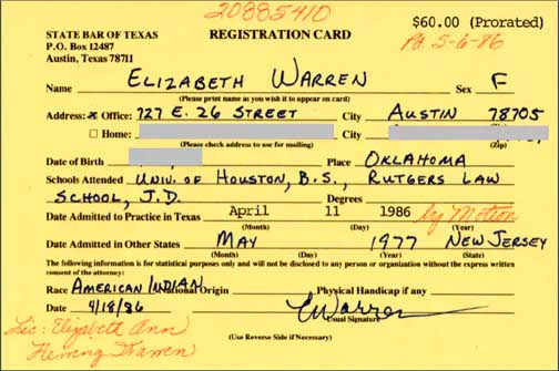 Pic of Warren's registration