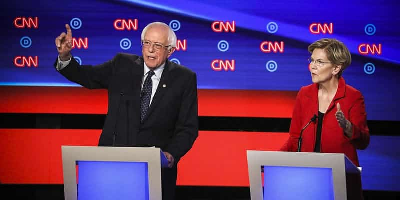 Sanders and Warren during debate