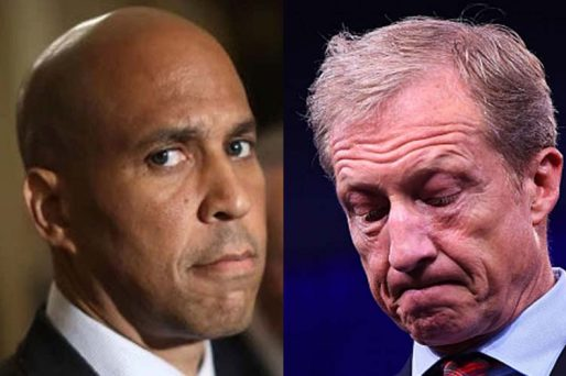 cory booker tom steyer next to drop