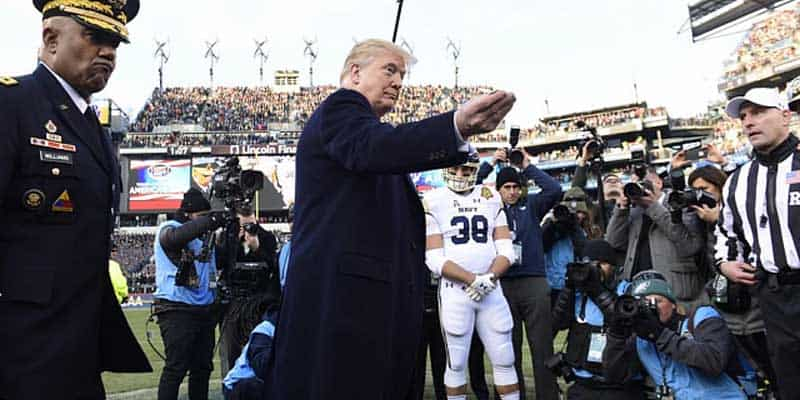 donald trump army navy game impeachment