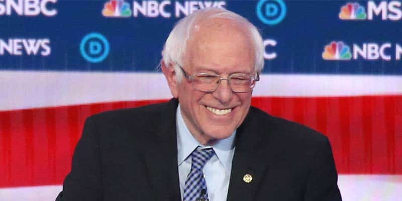 Bernie debate smiling