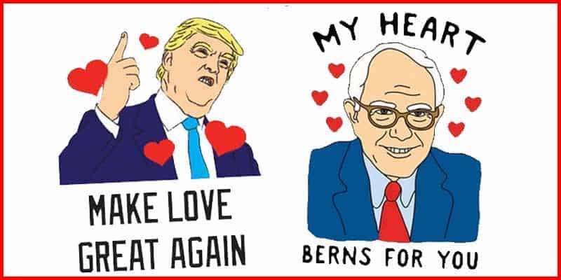trump bernie valentines day cards