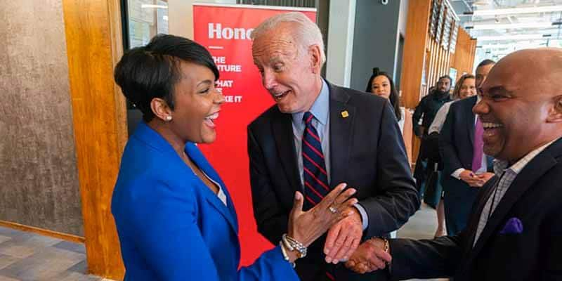 Atlanta Mayor Keisha Lance Bottoms shakes hands with Joe Biden