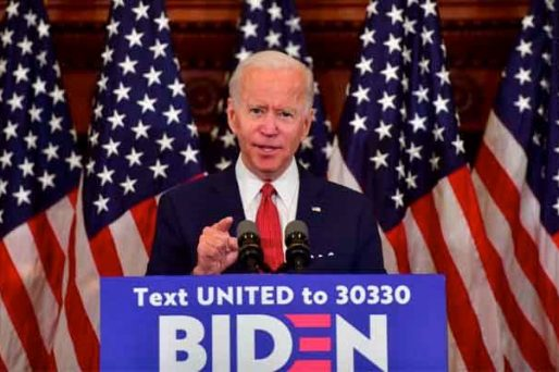 Joe Biden giving a speech in Philadelphia