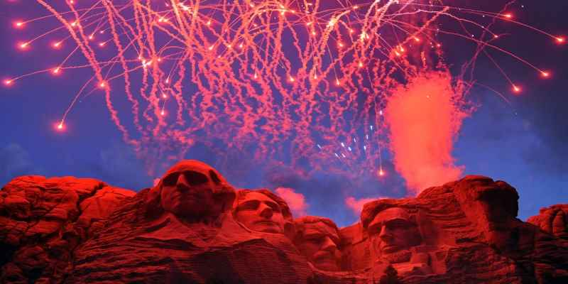 fireworks exploding above Mt. Rushmore