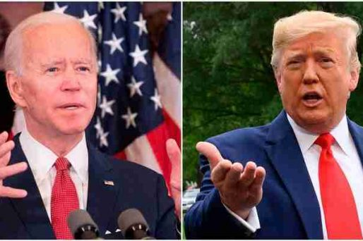A composite shot of Biden to the left of Trump, both speaking
