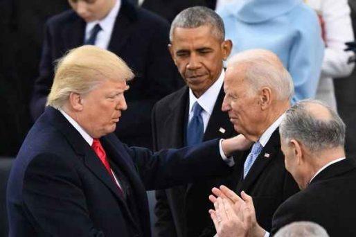 President Trump speaking with Joe Biden