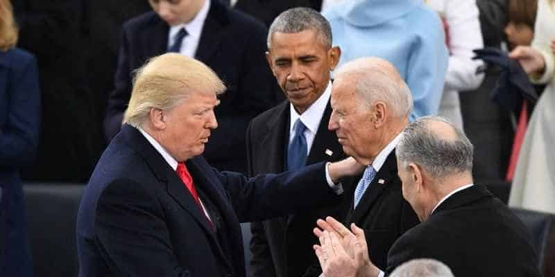 President Trump speaking with Joe Biden