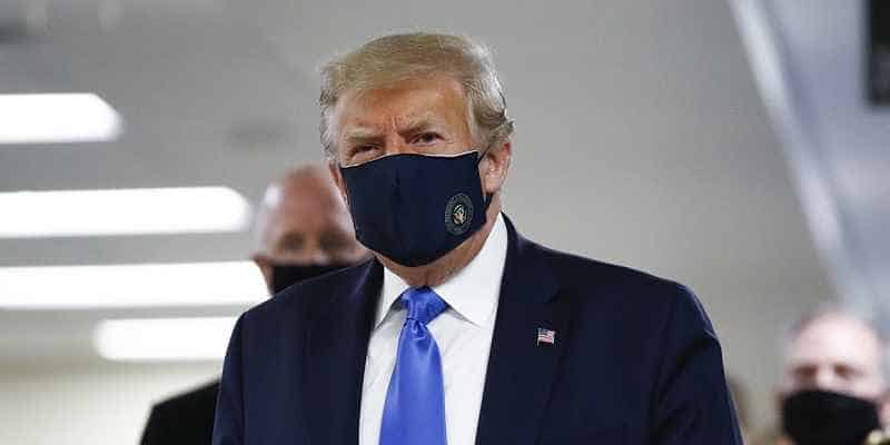 Trump wearing a face mask