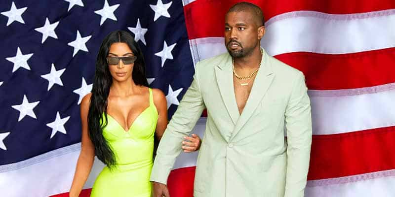 Kanye West and Kim Kardashian in front of a USA Flag