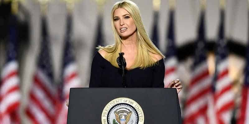 Ivanka Trump giving a speech at a White House podium