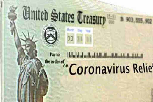 A stimulus check from the IRS that says Coronavirus Relief on it