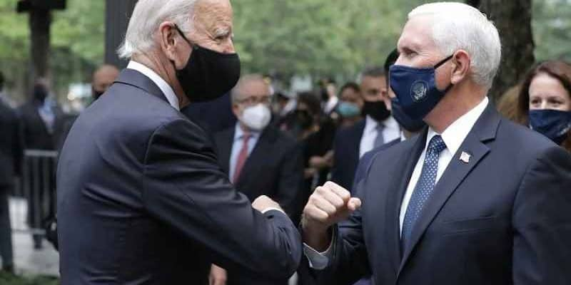 Biden and Pence doing an elbow bump