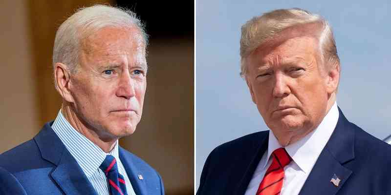 Biden looking mean to the left of Trump trying to look smooth