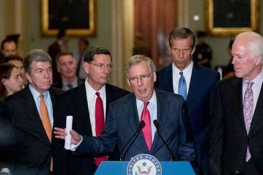 GOP Senate leadership gathered at a podium
