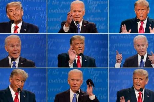 multiple images of Trump and Biden during debate