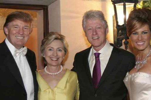 Donald and Melania Trump posing with Bill and Hillary Clinton at their wedding
