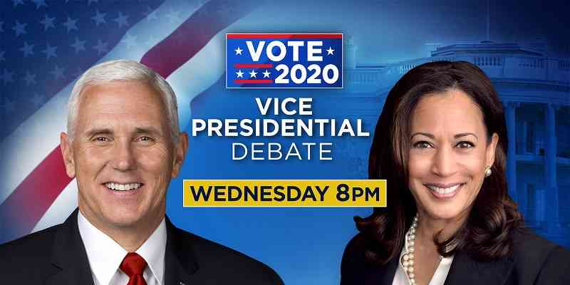 Mike Pence and Kamala Harris in a VP debate promotion