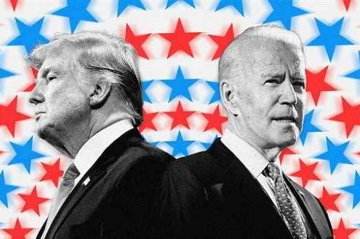 Trump and Biden in front of red and blue star background
