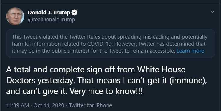 Trump Tweet stating he is free of COVID