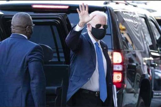 Joe Biden waves to crowd