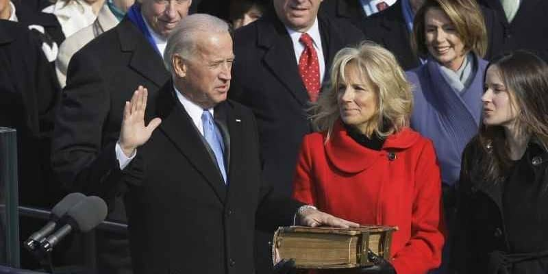 joe biden taking the oath of office