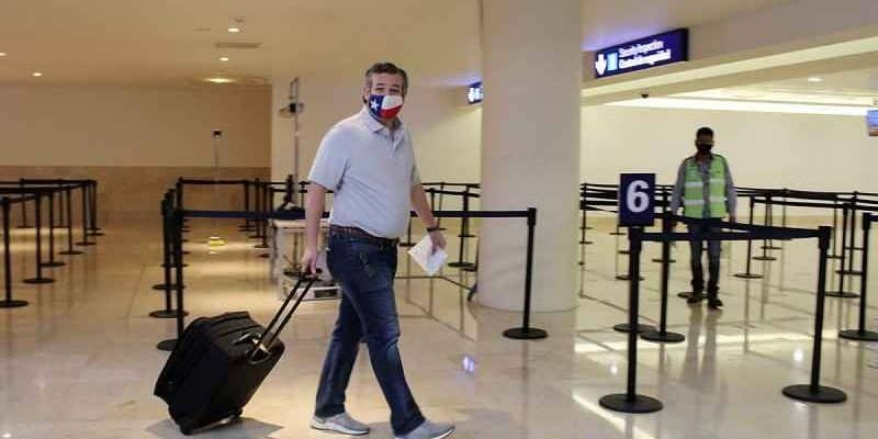 Ted Cruz in the airport returning from trip to Cancun during Texas snow storm