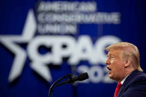 Donald Trump at CPAC in Orlando hinting at a 2024 run