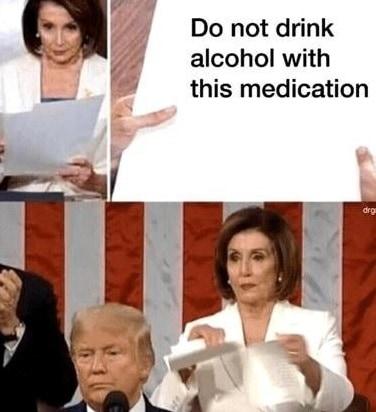 medication pelosi meme trump paper rip