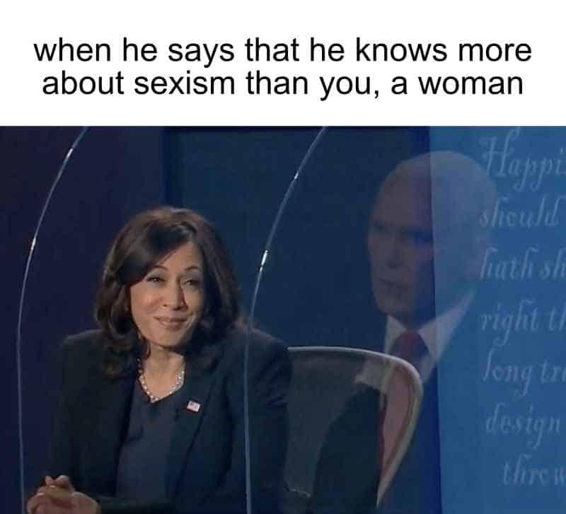 Mike Pence debate Kamala Harris meme